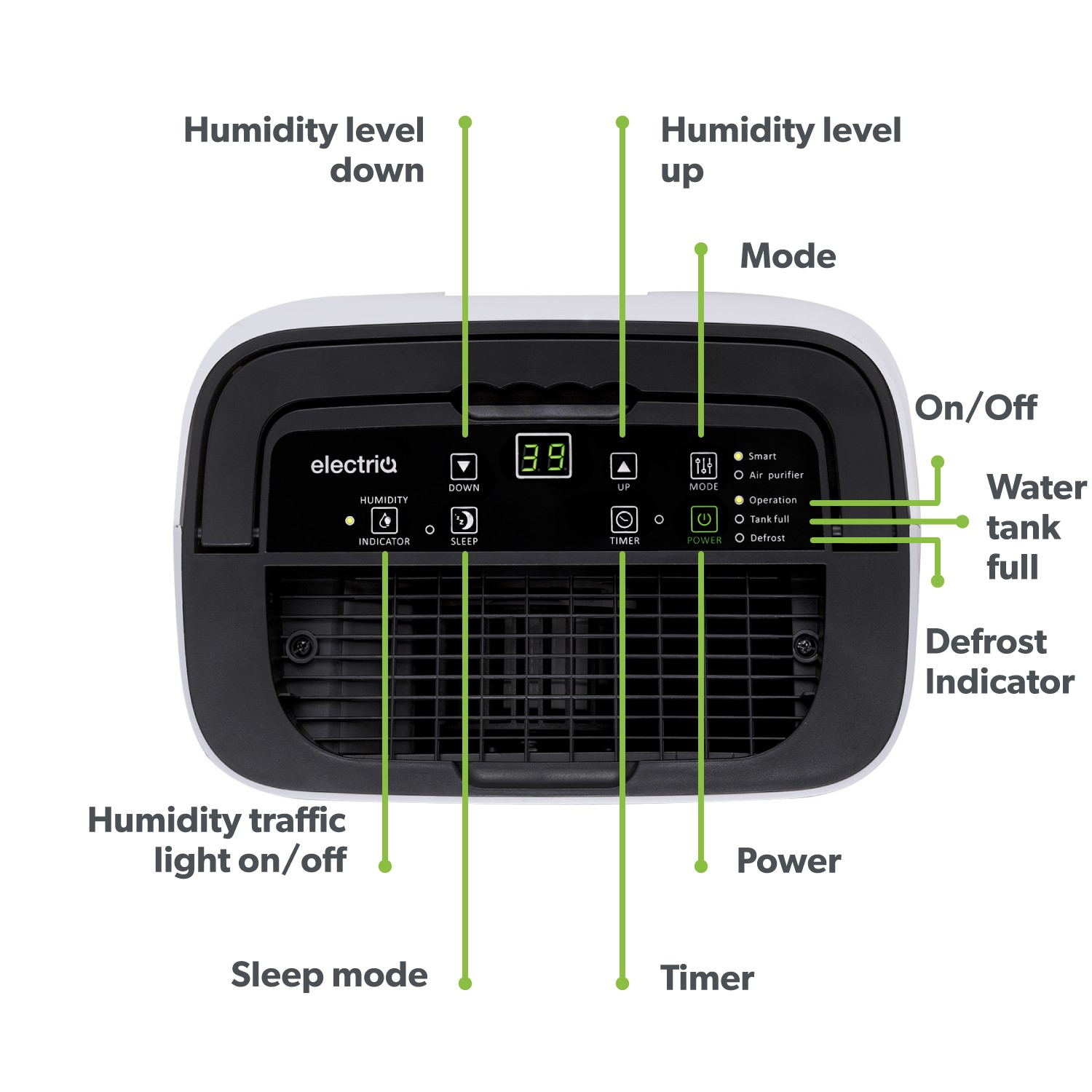 GRADE A1 electriQ 12L Smart Wi Fi Alexa Dehumidifier for up to 3 bed house with Air Purifier