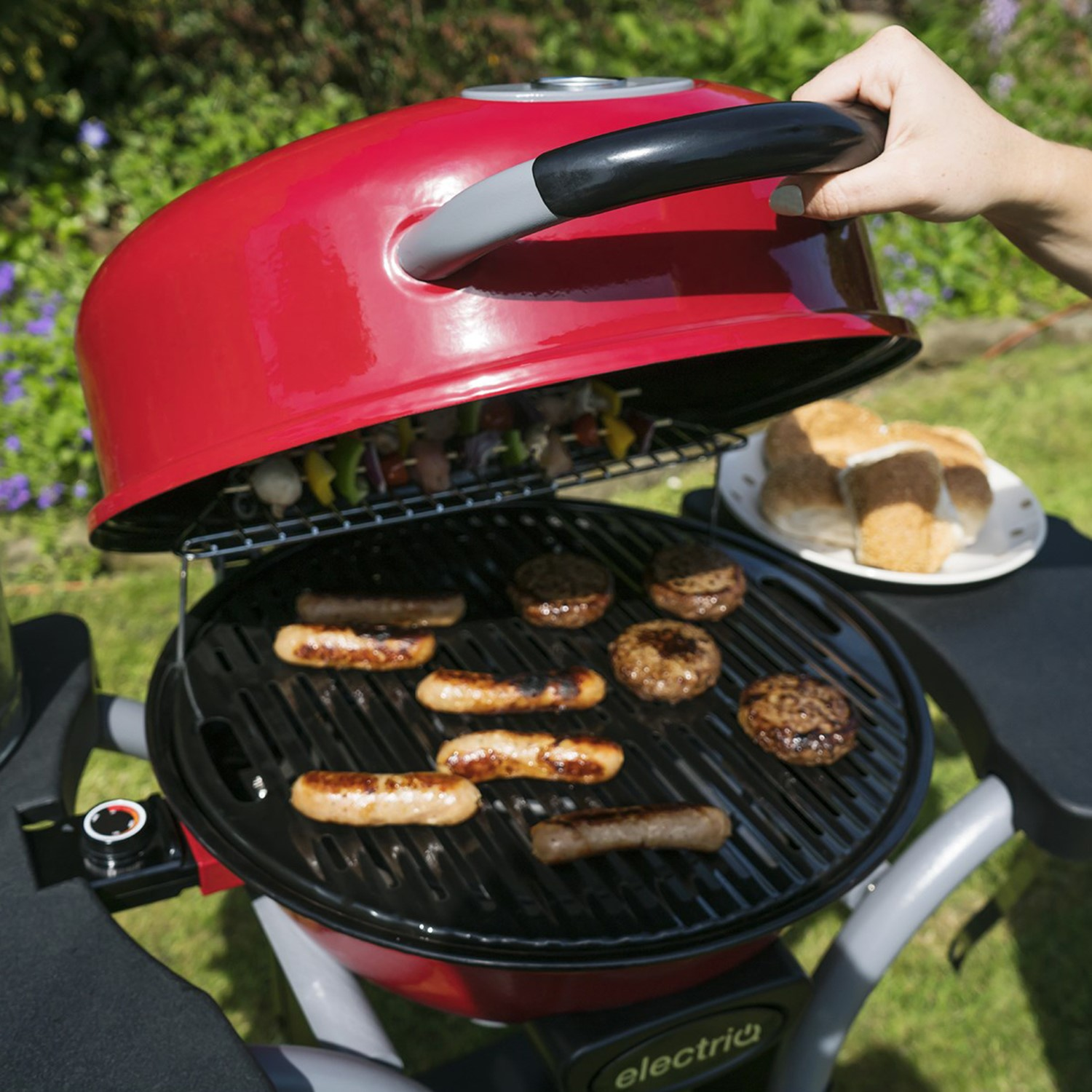 Red Compact Outdoor Electric BBQ With Cover | electriQ