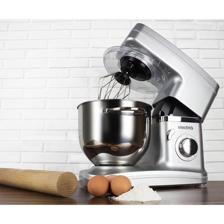 electriQ 5.2L 1500W Stand Mixer with 3 Mixing Attachments - Silver