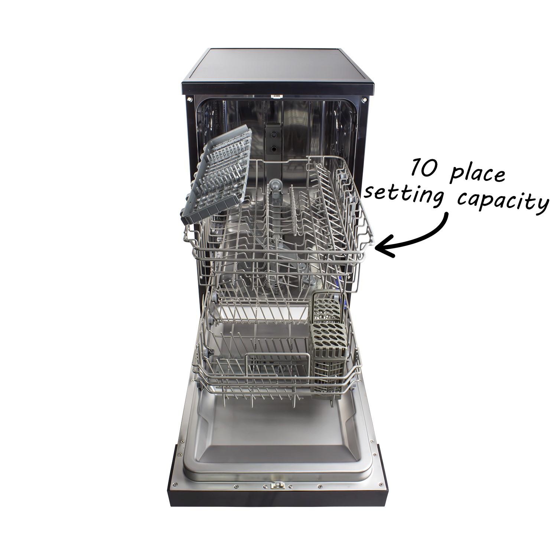 Electriq Slimline Freestanding Dishwasher Black Electriq