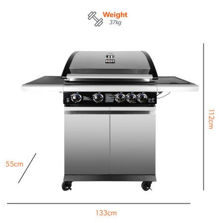 The Alabama Elite 4 Burner Gas BBQ in Stainless Steel - Includes BBQ Cover and Utensil Set