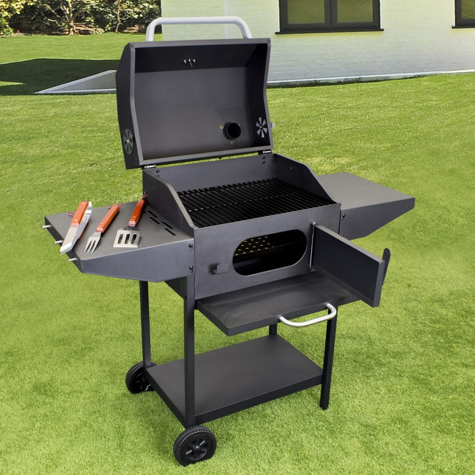 Charcoal American Grill Bbq With Chimney Smoker Function