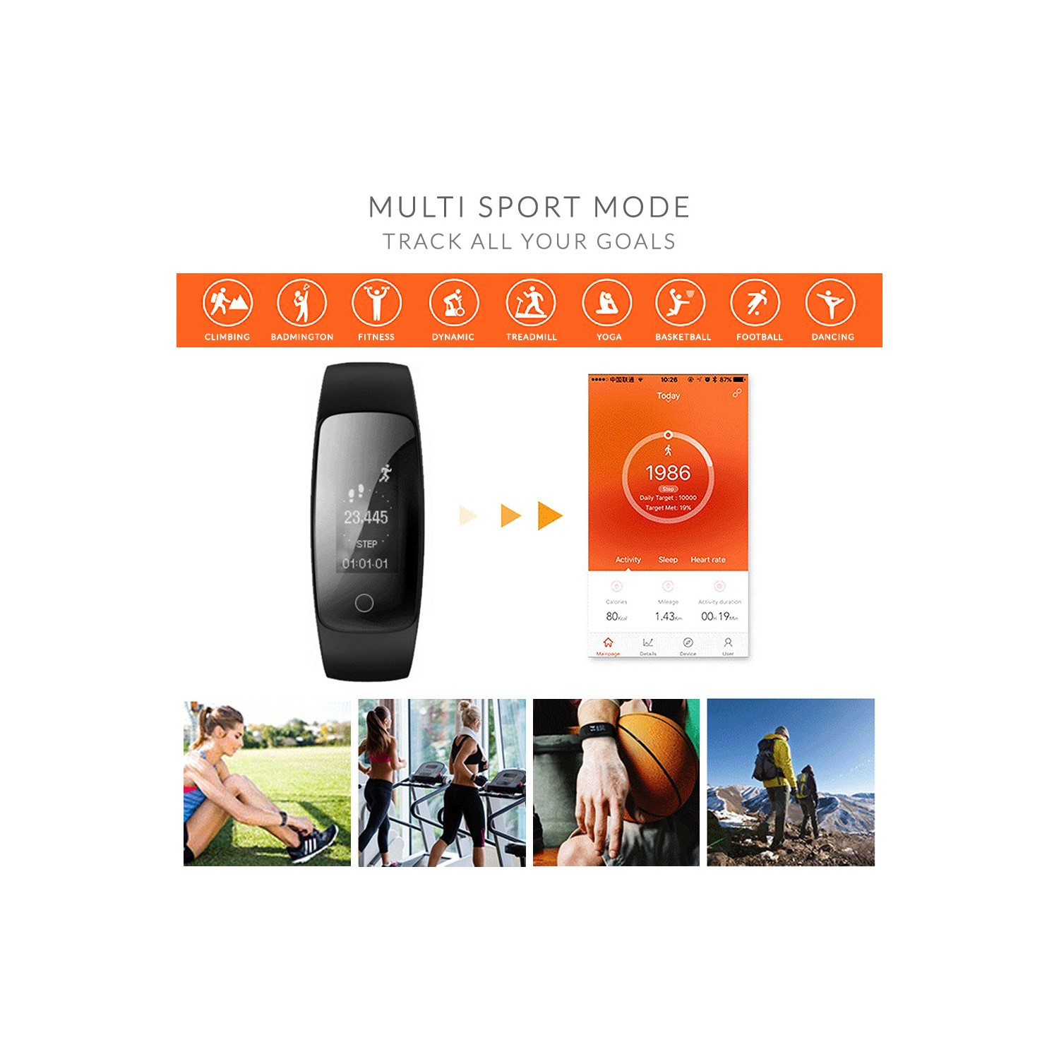 2072833d7232 IQ PLUS Fitness Tracker with Connected GPS and Multi Sport Mode - Compatible  with Android &