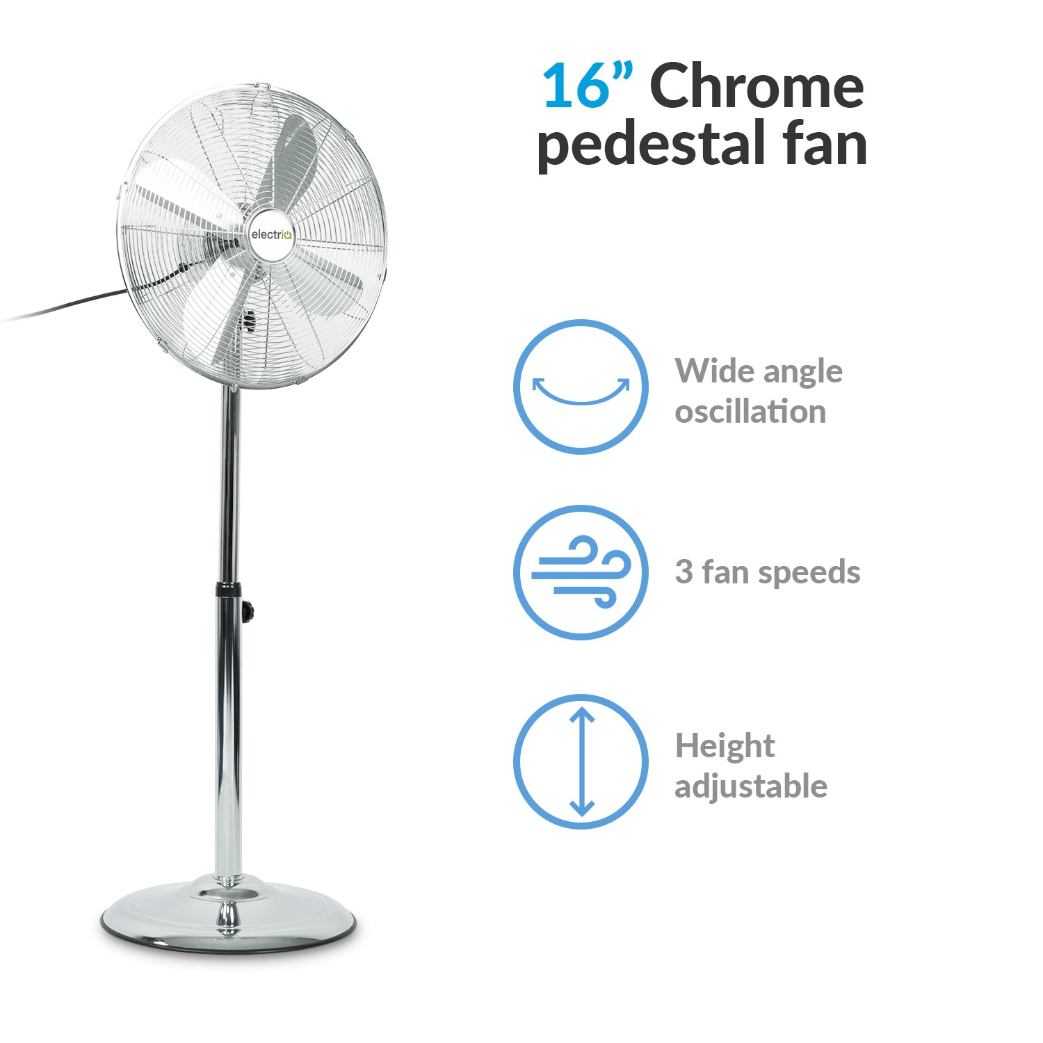 NEW G4RCE 16 Inch 40cm Chrome Pedestal 3 Speed Stand Fan Cooling 3 Colours UK