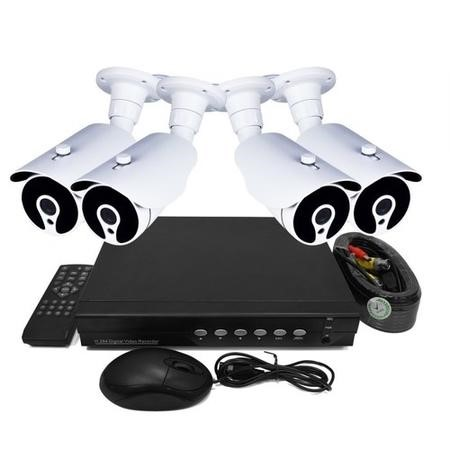 electriQ CCTV System - 4 Channel HD DVR with 4 x 720p Bullet Cameras - Hard Drive Required