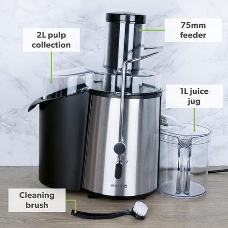 electriQ WF1000 Whole Fruit 990W Power Juicer - Stainless Steel