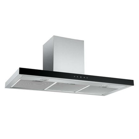 electriQ 100cm Slimline Box Touch Control Chimney Cooker Hood - Black Glass Front- 5 Year Warranty