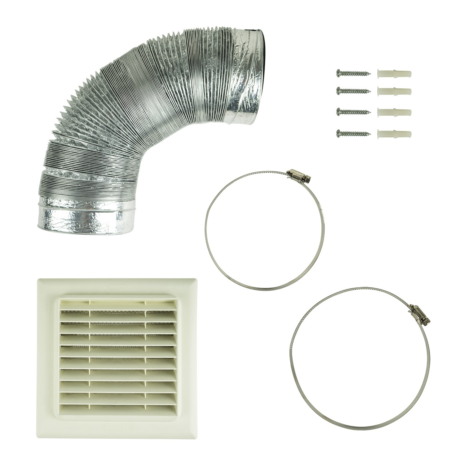 Grade A1 Universal 120 125mm X 3m Kitchen Cooker Hood Vent Ducting Kit With Flat Vent Electriq