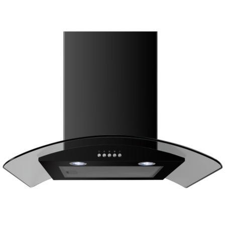 Electriq 60cm Satin Black Curved Glass Push Button Control