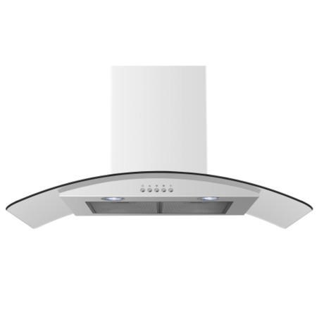 electriQ 90cm White Curved Glass Push Button Control Chimney Cooker Hood