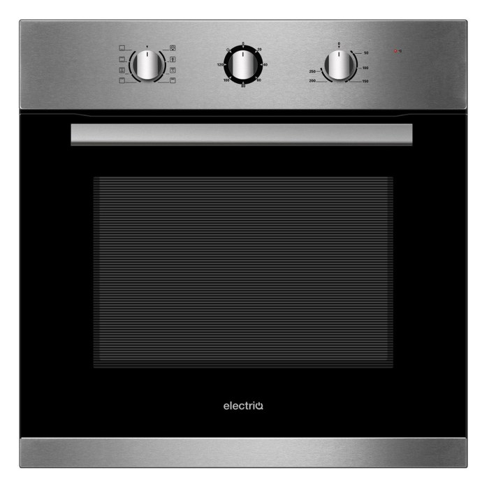 electriQ 65 Litre 8 Function Fan Assisted Electric Single Oven in Stainless Steel - Supplied with plug - EQOVENM2