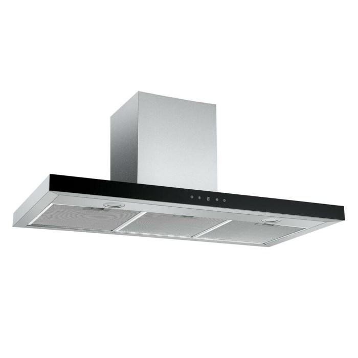 electriQ 100cm Slimline Box Touch Control Chimney Cooker Hood - Black Glass Front